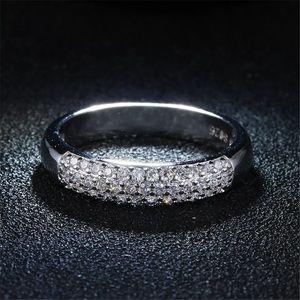 AAA Diamond Silver wedding Half eternity band